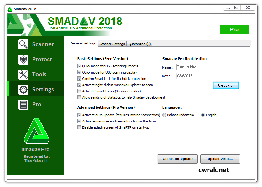 SmadAV Antivirus 12.1 Crack Registration Key 2018 For Windows+Mac Free Download